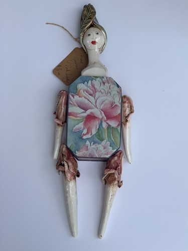 Pink Lady Hanging Tin Doll