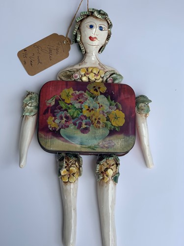 Girl with Vase Hanging Tin Doll